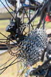 Bicycle gears. View of bicycle gears from the rear Royalty Free Stock Image