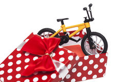 Bicycle in gift box Royalty Free Stock Photos