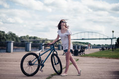 Bicycle girl Royalty Free Stock Photography