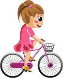 Bicycle Girl. Girl riding her bike with bucket isolated on white background. You can find different kids or children playing sports in my portfolio. Eps file is Royalty Free Stock Image