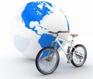 Bicycle and globe Stock Photo
