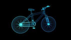 Bicycle. Glowing blue light particles point and line of bicycle model. Seamless looping motion animation in 3d virtual