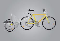 Bicycle. Gray yellow bicycle and baby carriage on the ground vector illustration