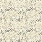 Bicycle grunge pattern. Vector seamless bicycle grunge pattern.Cycle racing.Travel around the world on a bicycle Royalty Free Stock Image
