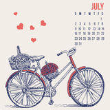 Bicycle hand drawn vector sketch, ink illustration old bike with floral basket isolated on background, vintage. Decorative style calendar template for design Stock Photo