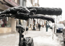 Bicycle Handbars Encased in Ice in Closeup After Ice Storm royalty free stock photo