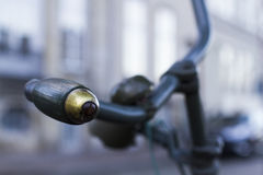 Bicycle handle. Old green bicycle handle retro Royalty Free Stock Photos