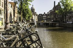Bicycle handle bars in Amsterdam stock photography