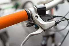 Bicycle handle. Close up of a bicycle handle Stock Image