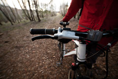 Bicycle handlebar grips and speed shifter closeup in forest Royalty Free Stock Photography