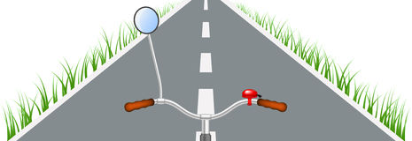 Bicycle handlebar, road and grass. On white background Stock Photography
