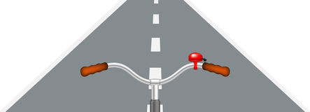 Bicycle handlebar and road. On white background Stock Image