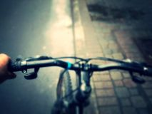 Bicycle handlebars. View of the Bicycle handlebars Royalty Free Stock Image