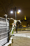 Bicycle hanging on the fence in winter Stock Photos