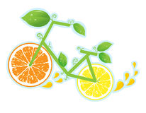 Bicycle of health, wheels from a lemon and orange Royalty Free Stock Images