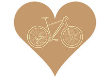 Bicycle in heart. Illustration with a brown contour of the sports bicycle in heart Royalty Free Stock Image