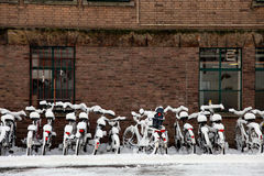 Bicycle in a heavy snow Stock Image