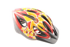 Bicycle helmet. Colorful protective bicycle helmet isolated on white background Stock Photos