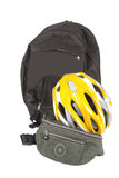 Bicycle helmet and bags. Bicycle helmet with two different bags isolated on white background. Image emphasizes subjects such as adventure, sports, travel and royalty free stock images