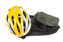 Bicycle helmet and bags. Bicycle helmet with two different bags isolated on white background. Image emphasizes subjects such as adventure, sports, travel and stock images