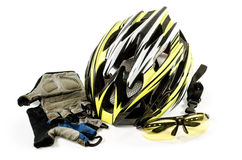Bicycle helmet Glasses and gloves on white background. Stock Image