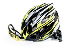 Bicycle helmet and Glasses on white background : Clipping path included : does not include shadow under. Royalty Free Stock Image