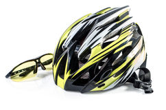 Bicycle helmet and Glasses on white background : Clipping path included : does not include shadow under Royalty Free Stock Images