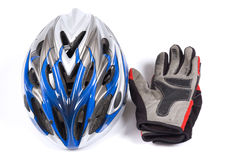 Bicycle helmet and gloves. A cross-country bicycle helmet and gloves stock image