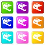 Bicycle helmet icons 9 set Royalty Free Stock Photography