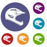 Bicycle helmet icons set Royalty Free Stock Photos