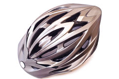 Bicycle helmet isolated. Grey bicycle cross country plastic helmet isolated on white stock photography