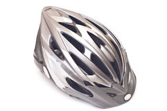 Bicycle helmet isolated. Grey bicycle cross country plastic helmet isolated on white Royalty Free Stock Image