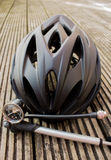 Bicycle Helmet and pump Royalty Free Stock Photography