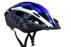 Bicycle helmet with visor. Bicycle helmet with straps hanging loosely down Royalty Free Stock Image