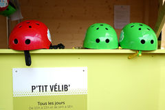 Bicycle Helmets P`tit Vélib` Paris-Plages Paris France Stock Photos