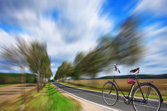 Bicycle on a highway Stock Image