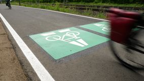 Bicycle highway, cycle route Darmstadt - Frankfurt, Germany. Low-angle view, tracking shot stock video