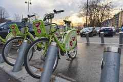 Bicycle hire in Budapest Stock Photography