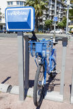 Bicycle for hire at Promenade des Anglais Stock Photo