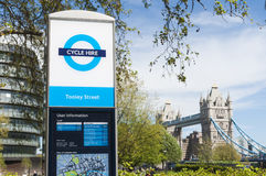 A bicycle hire sign at Tower Bridge Royalty Free Stock Photo