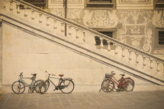 Bicycle by an historic stairway in Pisa in vintage tone Stock Photo