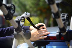 Bicycle holder for a car Stock Image