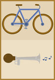 Bicycle and horn Stock Photos