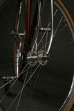 Bicycle hub. Close up of classic Bicycle wheel hub with grey background royalty free stock images