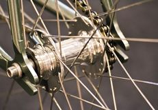 Bicycle hub. Close up bicycle hub for background Royalty Free Stock Photo