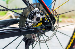 Bicycle hydraulic rear disk brake on sport bike edition Stock Photography
