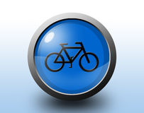 Bicycle icon. Circular glossy button. Royalty Free Stock Image