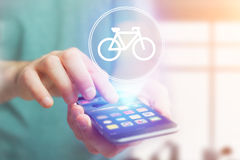 Bicycle icon over device - Sport and technology concept. View of a Bicycle icon over device - Sport and technology concept royalty free stock image