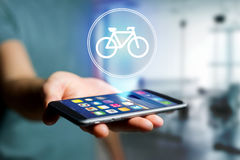 Bicycle icon over device - Sport and technology concept Royalty Free Stock Image