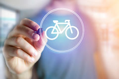Bicycle icon over device - Sport and technology concept. View of a Bicycle icon over device - Sport and technology concept royalty free stock photo